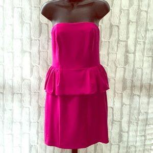 Express Hot Pink Strapless Dress Peplum Waist  6